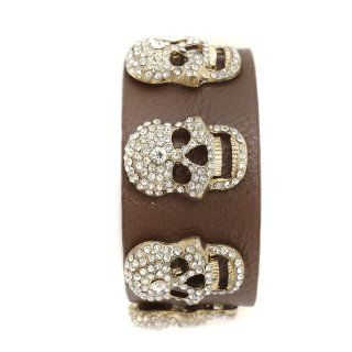 Aesthetic Beauty Crystal Skull Head Leather Bracelet Brown Color: Everything Else