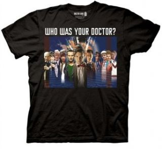 Dr Doctor Who Shirt Doctor Montage Adult Black Tee Shirt at  Men�s Clothing store: Fashion T Shirts