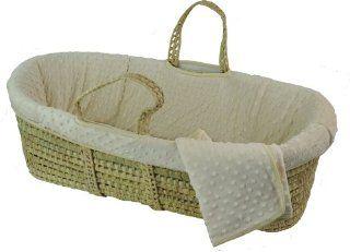 Tadpoles Dimple Velour Moses Basket Set, Ivory  Portable Bassinet Basket  Baby