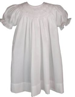 White Cotton Christening Baptism Smocked Bishops Gown: Clothing