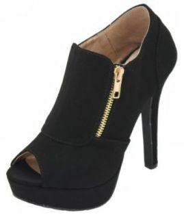 Women Open Toe High Heel Pumps Peep Toe Platform Bootie   Black Nubuck Pu Qupid Gaze 311 (10): Shoes