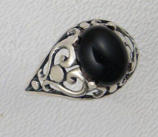 A Beautiful Sterling Filigree Heart Ring With a Genuine Onyx Made in America: The Silver Dragon: Jewelry
