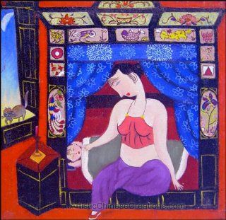 Contemporary Chinese Art / Chinese Modern Art Chinese Oil Painting   Lady
