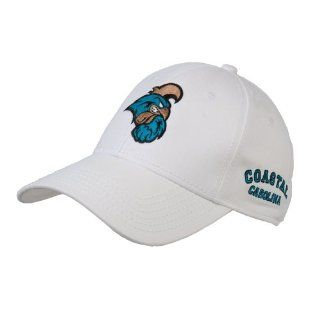 Coastal Carolina White Heavyweight Twill Pro Style Hat 'Chanticleer Head'  Sports Fan Baseball Caps  Sports & Outdoors