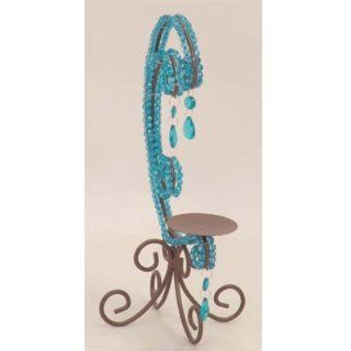 "Brown & Blue Jeweled Pillar Candle Holder 9"" x 13.5"" #85892"