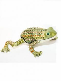Elegant Bejeweled Green Metal Frog Pill Box: Pill Box: Clothing