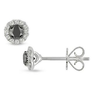 CT. T.W. Enhanced Black and White Diamond Framed Stud Earrings in