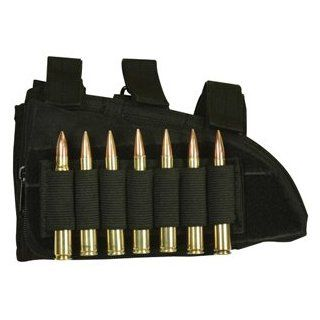 Ultimate Arms Gear Stealth Black Tactical Military Hunting Universal Sniper Rifle Gun Lefty Side Butt Stock Buttstock Cheek Rest Ammo Ammunition Holder Cartridges .223 5.56 7.62x39 7.62x54 : Gun Stock Accessories : Sports & Outdoors