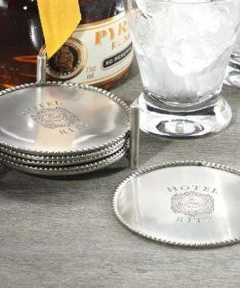 Zodax Set Of Six Hotel Ritz Coasters in Caddy: Kitchen & Dining
