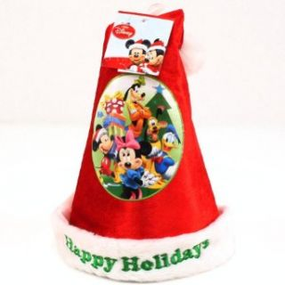Kids Disney Mickey Minnie Velour Santa Christmas Hat Red with White Clothing