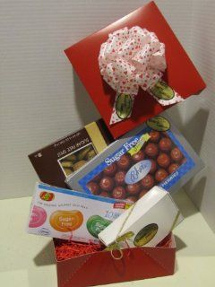 Diabetic Candy Red Hot Gift Box Sugar Free  Chocolate And Candy Assortments  Grocery & Gourmet Food