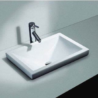Cantrio Koncepts PS 111 Vitreous China Semi Recessed Bathroom Sink with Overflow, 21 in. W x 14 3/4 in. D x 6 in. H   Vessel Sinks