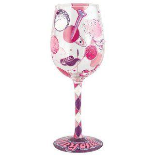 Santa Barbara Design Studio GLS11 5526J Lolita Love My Wine Hand Painted Glass, Golf Anyone Kitchen & Dining