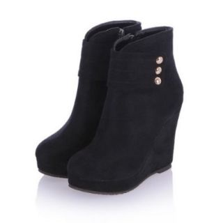 BeautyLover Women's Wedge Solid Korean Style Ankle Boots with Rivets and Zipper,Black,34 Shoes
