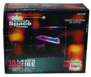 "CLOSE OUT OVER STOCK SALE WHYLE SUPPLIES LAST KENNEDY SPACE CENTER 3D LASER CUBE ALSO COLOR CHANGING LED LIGHTS PERFECT FOR HOME OR OFFICE 2"" LASER ETCHED GLASS CUBE WITH LED LIGHT BASE: Toys & Games"