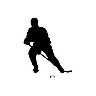 "6"" Printed color hockey player slapshot leaning silhouette Hockey Skate Ski Winter Snow Snowboard sticker decal for any smooth surface such as windows bumpers laptops or any smooth surface."