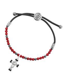 Mens Kali Reconstructed Coral Beads & Cross Charm Bracelet   John Hardy