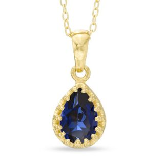 Pear Shaped Lab Created Blue Sapphire Crown Pendant in Sterling Silver