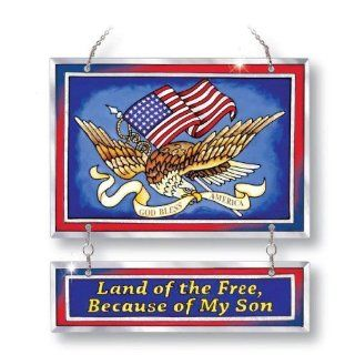 Amia Land of the Free Because of My Son Patriotic Suncatcher, Hand Painted on Glass