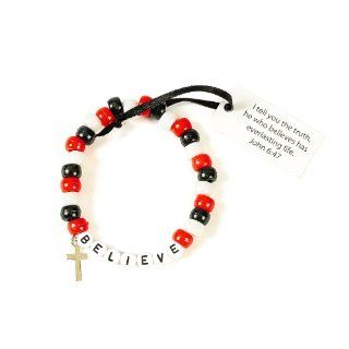 "Beaded ""Believe"" Bracelet Craft Kit (1 dz): Toys & Games"