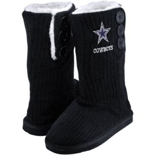 Dallas Cowboys Ladies Knit High End Button Boot Slippers   Navy Blue