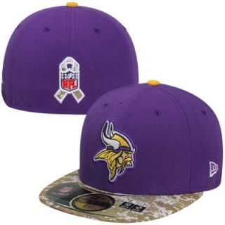 New Era Minnesota Vikings Salute To Service On Field 59FIFTY Fitted Performance Hat   Purple/Digital Camo