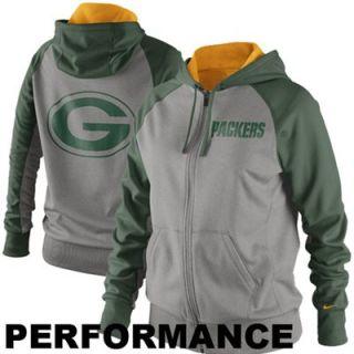 new product f37f3 41f27 Nike Green Bay Packers Ladies Die Hard Full Zip Performance Hoodie Ash Green
