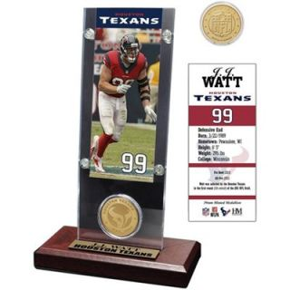 J.J. Watt Houston Texans Acrylic Desktop Ticket Display Case with Bronze Coin