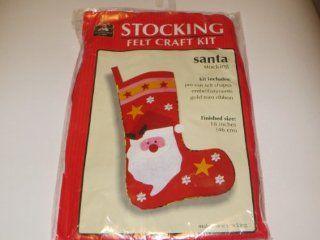 "Christmas Stocking Felt Craft Kit     Santa Stocking     Kit contains pre cut felt shapes, embellishments, gold trim ribbon     Finished Size 18"""