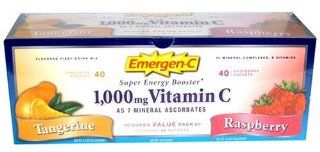 Emergen c Super Energy Booster   Flavored Fizzy Drink Mix, Contains 1000 Mg Vitamin C, 32 Mineral Complexes, B Vitamins, Value Pack   40 Tangerine and 40 Raspberry  80 Packets  Instant Breakfast Drinks  Grocery & Gourmet Food