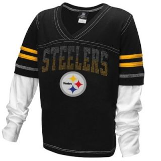 Pittsburgh Steelers Youth Girls Twofer Sleeve Stripes Baby Jersey Long Sleeve T Shirt   Black/White