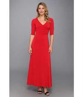Christin Michaels Ali 3/4 Sleeve Wrap Dress Red