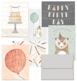 Fanciful Birthday Wishes   Blank Cards   36 Birthday Cards for $9.99 in 6 Different Designs, Gray Envelopes Included.: Health & Personal Care