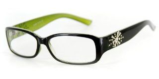 """Venus"" Modern Rectangular Reading Glasses by Ritzy Readers (Green +1.00): Health & Personal Care"