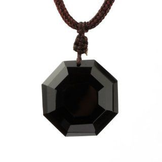 O stone Obsidian Eight Diagrams Secret of the Universe Pendant Necklace Grounding Stone Protection Amulet: Jewelry
