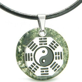Yin Yang BA GUA Eight Trigrams Amulet Green Moss Agate Magic Gemstone Stainless Steel Circle Spiritual Powers Pendant Leather Necklace: Jewelry
