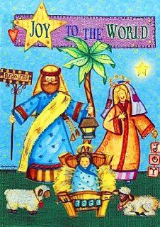 """Joy Nativity, Baby Jesus in the Manger   Large Christmas Flag 28"""" X 40"""" For Winter Holiday Porch House Patio Garden Yard Office Religious Christian Hotel Church Store Outdoor Banner Decorations, Etc. : Patio, Lawn & Garden"""