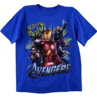"Marvel Avengers ""Five Heroes"" Blue T Shirt 4 7 (7): Clothing"