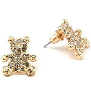 Gold Tone Rhinestone Teddy Bear Stud Earrings Jewelry