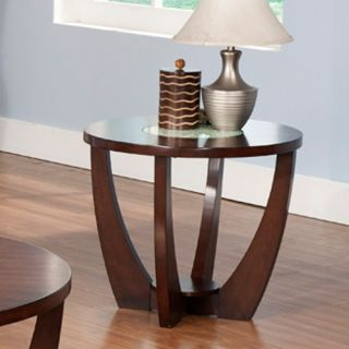 Steve Silver Rafael Round Cherry Wood and Glass End Table   End Tables