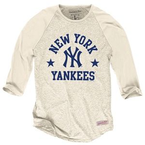 Mitchell & Ness MLB Media Guide Raglan   Mens   Baseball   Clothing   New York Yankees   Heather White
