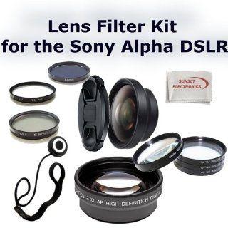 58mm Digital Accessory Kit For Sony Lenses 18 55mm, 18 70mm, 75 300mm, 55 200mm, 50mm Digital SLR Cameras Includes   .43x Wide Angle Lens, 2.2x Telephoto Lens, 3 Piece Multi Coated Filter Set (UV CPL FLD), 4 Macro Close up Lens Set (+1, +2, +4, +10), Lens