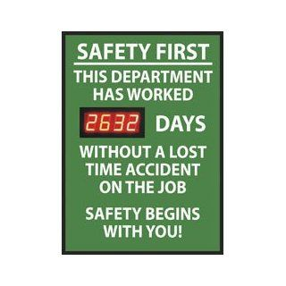 "NMC DSB1 Digital Scoreboard, ""Safety First   This Department Has Worked XXXX Days Without A Lost Time Accident On The Job"" 20"" Width X 28"" Height, Rigid Plastic, White On Green: Industrial Warning Signs: Industrial & Scientific"
