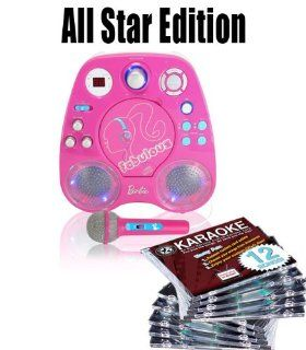 All star edition Barbie Light Up Karaoke FREE Music (150.00 Value) 10 Chartbuster Discs, 12 Song Custom, feat. Walt Disney and More The 12 Song Custom Card has over 7000 songs to choose from (That's over 130 Songs) Musical Instruments