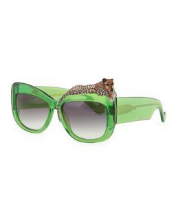 Rose et la Mer Leopard Sunglasses, Green   Anna Karin Karlsson   Green