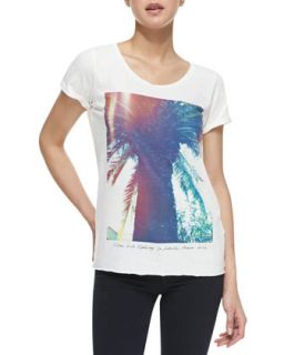 Womens Short Sleeve Palm Tree Graphic Tee   Maison Scotch   Multi (1 (S))