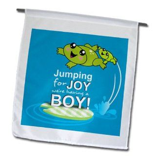 fl_120313_1 InspirationzStore Occasions   Jumping for joy having a boy   cute green frog blue baby shower its a boy kawaii frogs announcement   Flags   12 x 18 inch Garden Flag : Outdoor Flags : Patio, Lawn & Garden