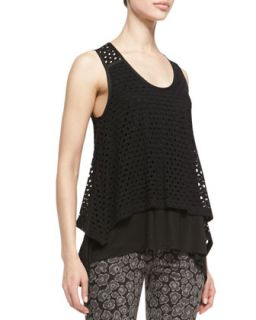 Womens Yuki Sleeveless Layered Eyelet Top   MARC by Marc Jacobs   Black (LARGE)
