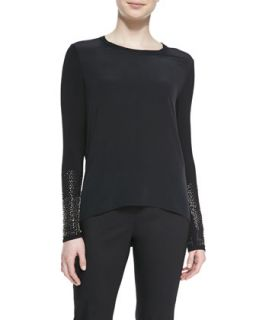 Womens Anna Blouse with Long Studded Sleeves   Elie Tahari   Black (SMALL 4 6)