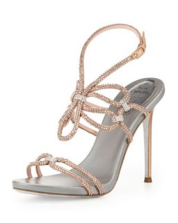 Crystal High Heel Ankle Wrap Sandal, Rose Gold/Silver   Rene Caovilla   Rose